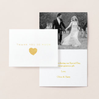 Gold Foil Heart Wedding Thank You Note Card