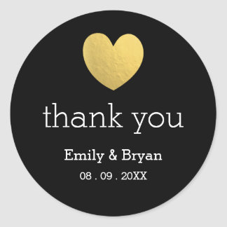 Gold Foil Heart Wedding Thank You Sticker