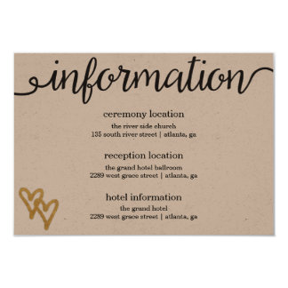 Gold Foil Hearts Kraft Paper Information Card