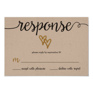 Gold Foil Hearts Kraft Paper Wedding RSVP Card