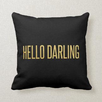 Gold Foil Hello Darling Modern Throw Pillow