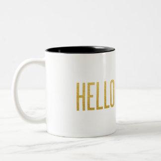 Gold Foil Hello Darling Two-Tone Coffee Mug