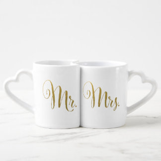 Gold Foil His and Hers Mr Mrs Typography Love Mugs Lovers Mug