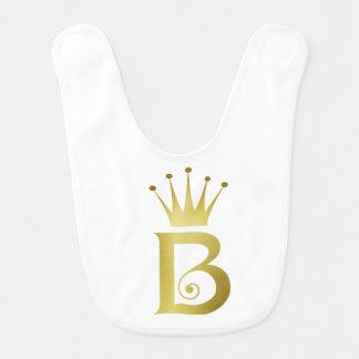 Gold Foil Initial B Letter Monogram Baby Bib Gift