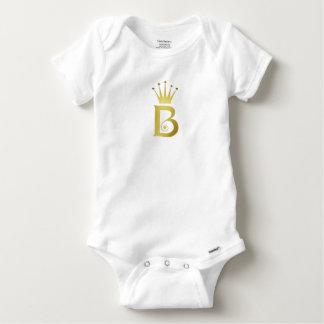 Gold Foil Initial B Letter Monogram Baby Bodysuit