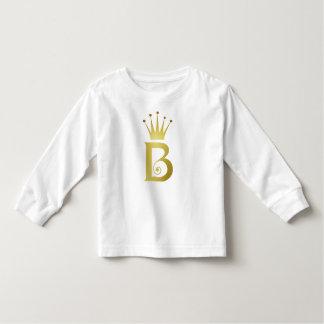 Gold Foil Initial B Letter Monogram Toddler Tshirt