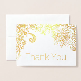 Gold Foil Lace Border Thank You Card