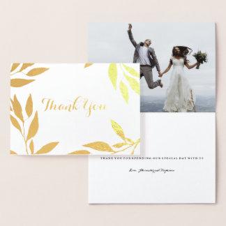 Gold Foil Leaf Thank You Wedding Card