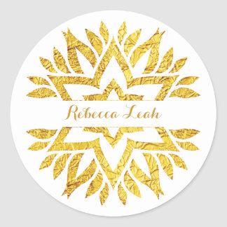 Gold Foil Look Star Mandala Bat Mitzvah Classic Round Sticker