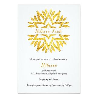 Gold Foil Look Star Mandala Bat Mitzvah Reception Card