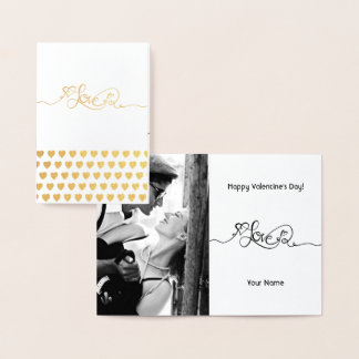 Gold Foil LOVE Calligraphy Valentine's Day Photo Foil Card
