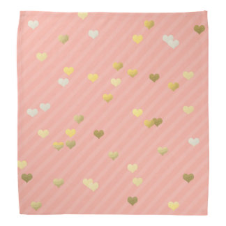 gold foil love hearts pattern, pastel pink stripes bandannas