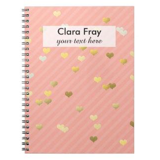 gold foil love hearts pattern, pastel pink stripes spiral notebook