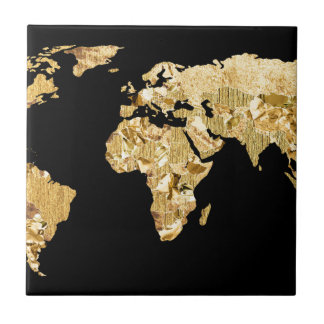 Gold Foil Map Ceramic Tile