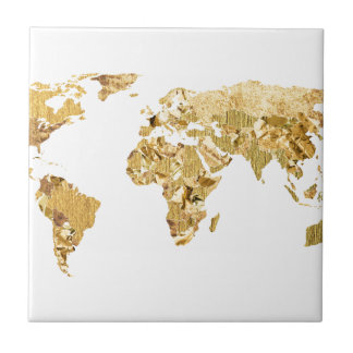 Gold Foil Map Ceramic Tiles