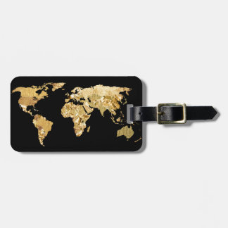 Gold Foil Map Luggage Tag