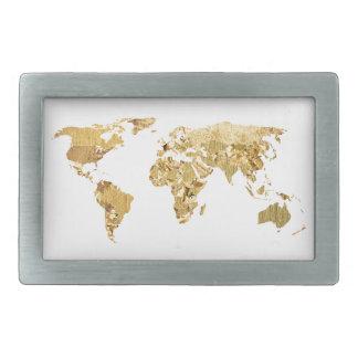 Gold Foil Map Rectangular Belt Buckle