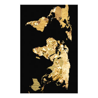 Gold Foil Map Stationery