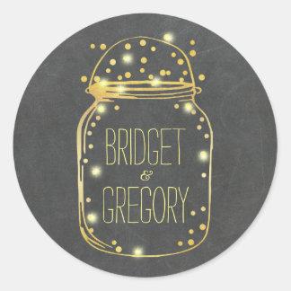 Gold Foil Mason Jar Confetti Fireflies Wedding Classic Round Sticker