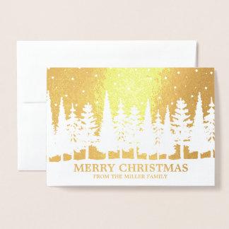 Gold Foil Merry Christmas Snowy Trees Custom Foil Card