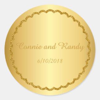 Gold Foil Metallic Monogram Wedding Sticker