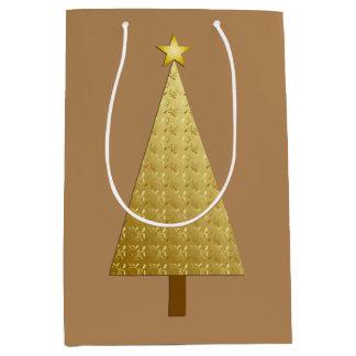 Gold foil modern Christmas tree Medium Gift Bag