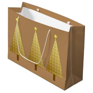 Gold foil modern Christmas tree Large Gift Bag