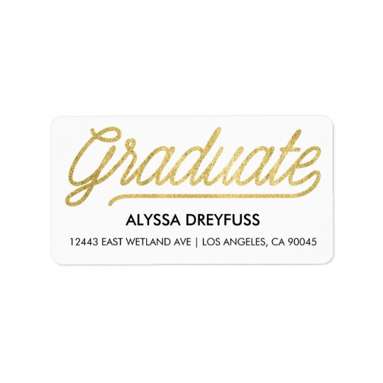 Gold Foil Modern Script Graduate Address Labels