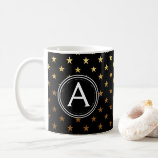 Gold Foil Monogram Stars Pattern Coffee or Tea Cup