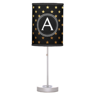Gold Foil Monogram Stars Pattern Lamp