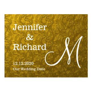 Gold Foil Monogrammed Save The Date Postcard