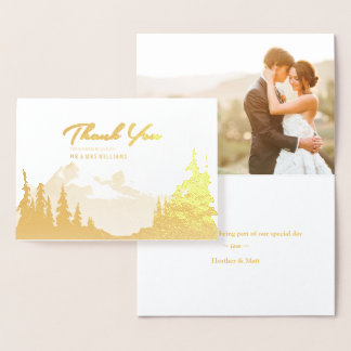 Gold Foil Mountain Wedding Photo Thank You Foil Card