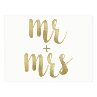 Gold foil Mr. & Mrs. postcards