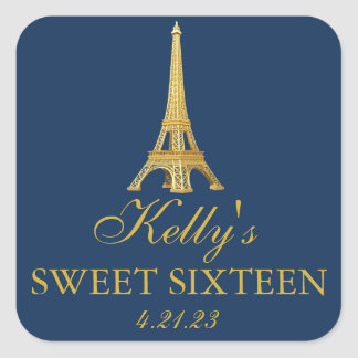 Gold Foil Paris Sweet 16  Favor Labels