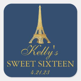 Gold Foil Paris Sweet 16  Favor Labels Square Sticker