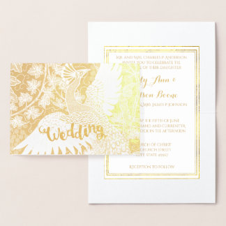 Gold Foil Peacock Typography Wedding Invitations