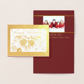 Gold Foil Personalized Photo Holiday Card