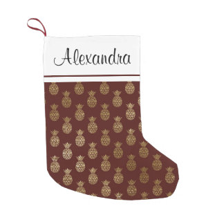 Gold Foil Pineapple and Burgundy Monogram Small Christmas Stocking