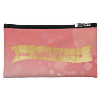 """Gold Foil & Pink """"Believe"""" Cosmetic Bag"""