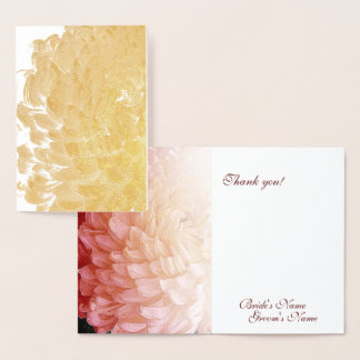 Gold Foil Pink Chrysanthemum Wedding Thank You Foil Card