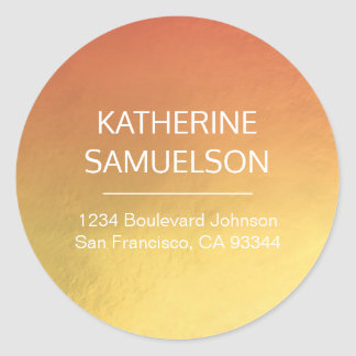 Gold Foil Pink Ombre Name & Return Address Classic Round Sticker