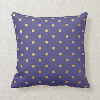 Gold Foil Polka Dots Modern Dark Purple Metallic Throw Pillow