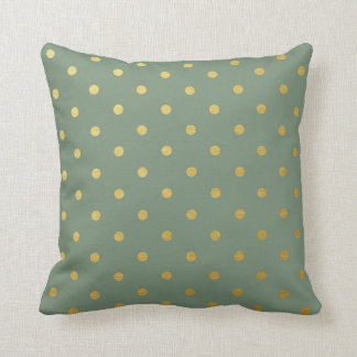 Gold Foil Polka Dots Modern Moss Green Metallic Throw Pillow