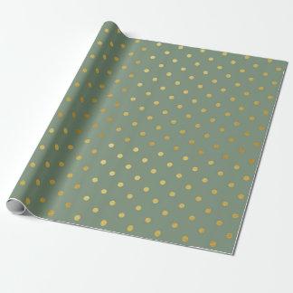 Gold Foil Polka Dots Modern Moss Green Metallic Wrapping Paper