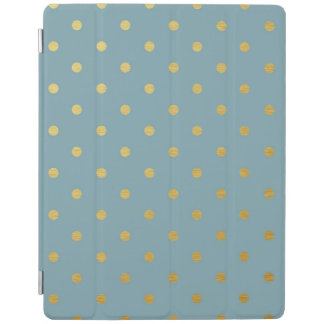 Gold Foil Polka Dots Modern Slate Blue Metallic iPad Cover