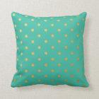 Gold Foil Polka Dots Modern Teal Blue Metallic Throw Pillow