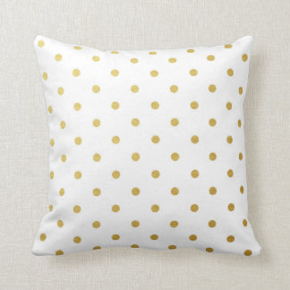 Gold Foil Polka Dots Modern White Metallic Throw Pillow