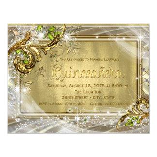 "Gold Foil Quinceañera 4.25"" X 5.5"" Invitation Card"