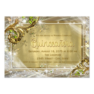 "Gold Foil Quinceañera 4.5"" X 6.25"" Invitation Card"