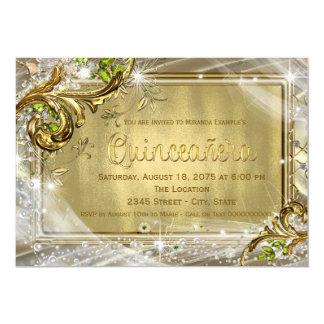 "Gold Foil Quinceañera 5"" X 7"" Invitation Card"